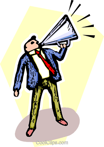 man with megaphone making announcement Royalty Free Vector Clip Art illustration vc065496