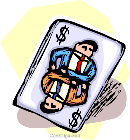 businessman on a deck of playing cards Royalty Free Vector Clip Art illustration vc065503