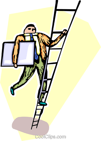 man climbing the ladder of success Royalty Free Vector Clip Art illustration vc065507