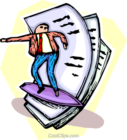 man surfing on waves of paperwork Royalty Free Vector Clip Art illustration vc065509