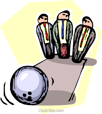 bowling ball strikes down businessmen Royalty Free Vector Clip Art illustration vc065513