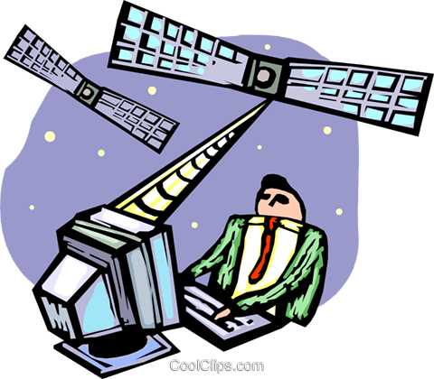 satellite communication Royalty Free Vector Clip Art illustration vc065516