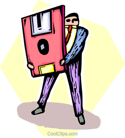 businessman with a floppy disk Royalty Free Vector Clip Art illustration vc065518