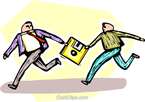 running the relay with a floppy disk Royalty Free Vector Clip Art illustration vc065519