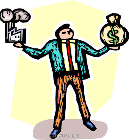balancing a factory and a bag of money Royalty Free Vector Clip Art illustration vc065522