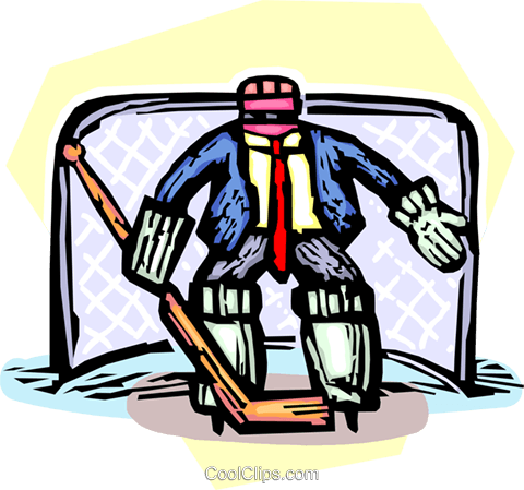 man in nets with goalie equipment Royalty Free Vector Clip Art illustration vc065530