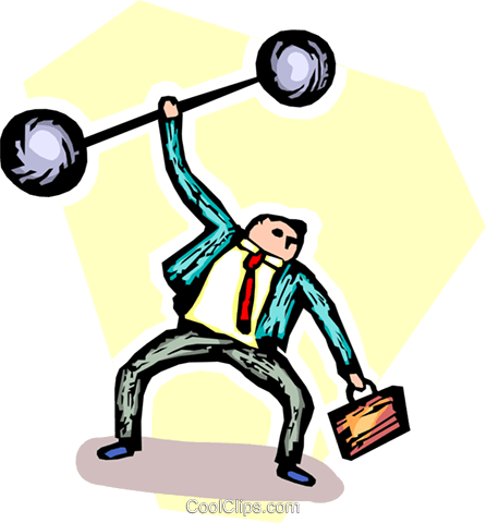 businessman lifting weights Royalty Free Vector Clip Art illustration vc065533