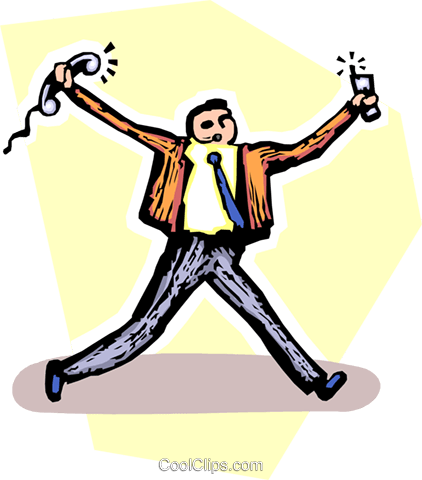 man running with telephones in his hands Royalty Free Vector Clip Art illustration vc065535