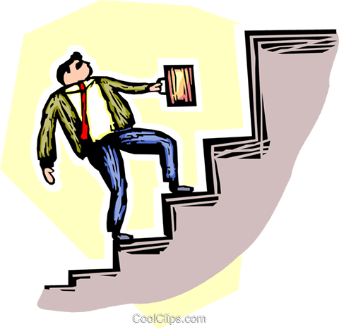 person going up the stairs Royalty Free Vector Clip Art illustration vc065536