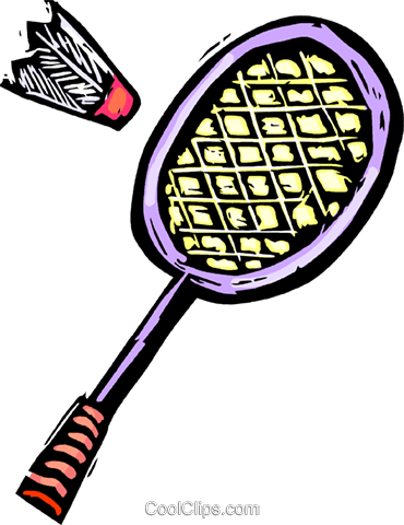 Badminton racket and birdie Royalty Free Vector Clip Art illustration vc065559