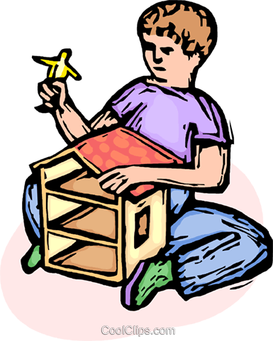 child playing with a dollhouse Royalty Free Vector Clip Art illustration vc065564