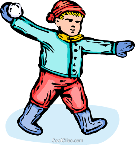 boy throwing a snowball Royalty Free Vector Clip Art illustration vc065581