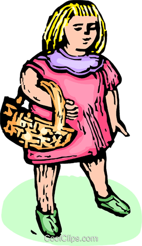girl with a basket Royalty Free Vector Clip Art illustration vc065583