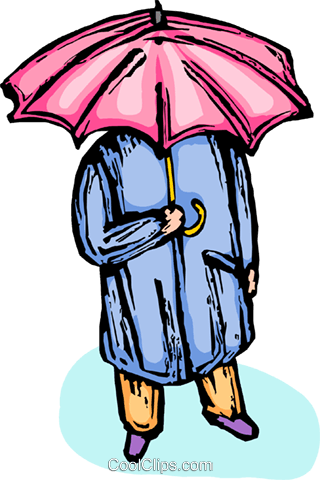 person standing under an umbrella Royalty Free Vector Clip Art illustration vc065586