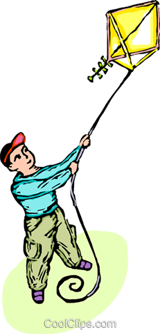 boy with a kite Royalty Free Vector Clip Art illustration vc065587