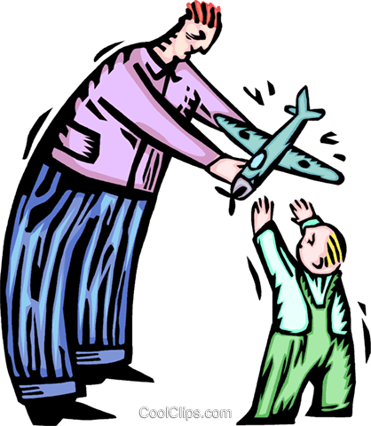 father handing a toy plane to a child Royalty Free Vector Clip Art illustration vc065591