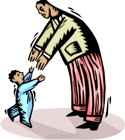 Child greeting his father Royalty Free Vector Clip Art illustration vc065593