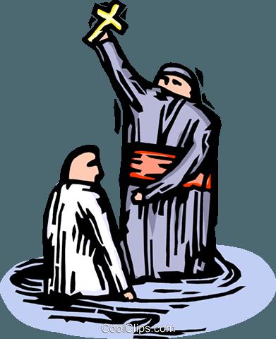 Priester Durchführung Einer Taufe Vektor Clipart Bild