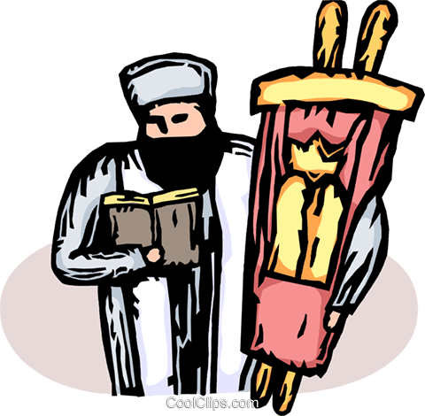 Rabbi with the Torah Royalty Free Vector Clip Art illustration vc065618