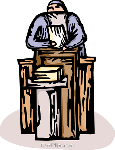 priest at the pulpit Royalty Free Vector Clip Art illustration vc065621