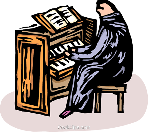Person playing the church organ Royalty Free Vector Clip Art illustration vc065628