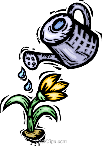 watering a flower Royalty Free Vector Clip Art illustration vc065638