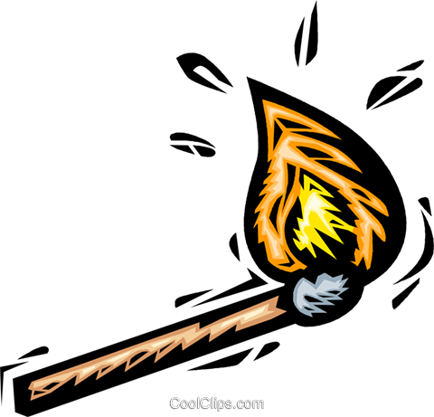 match on fire Royalty Free Vector Clip Art illustration vc065640