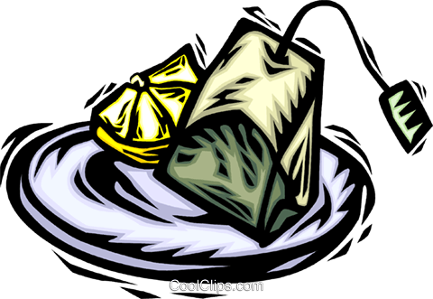 tea bag on a saucer and a slice of lemon Royalty Free Vector Clip Art illustration vc065679