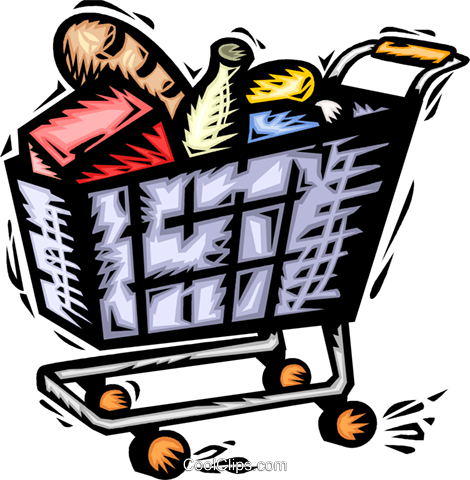 Grocery cart full of food Royalty Free Vector Clip Art illustration vc065687