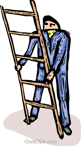 man with a ladder Royalty Free Vector Clip Art illustration vc065692