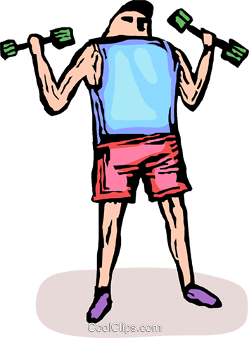 person lifting weights Royalty Free Vector Clip Art illustration vc065699