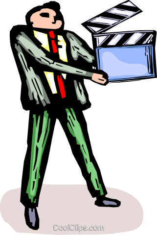 businessman with a clapper board Royalty Free Vector Clip Art illustration vc065713