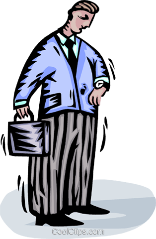 businessman looking at his watch Royalty Free Vector Clip Art illustration vc065716