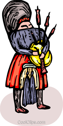 bagpipe player Royalty Free Vector Clip Art illustration vc065734