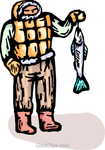 Eskimo with a fish Royalty Free Vector Clip Art illustration vc065739