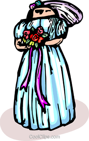 Bride with flowers Royalty Free Vector Clip Art illustration vc065742