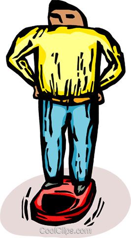 man standing on a weight scale Royalty Free Vector Clip Art illustration vc065744