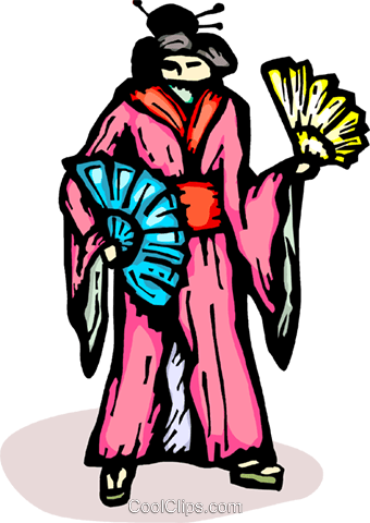 Japanese woman in a kimono Royalty Free Vector Clip Art illustration vc065745