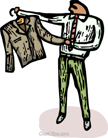 man looking at his suit jacket Royalty Free Vector Clip Art illustration vc065746