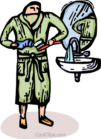man getting ready to brush his teeth Royalty Free Vector Clip Art illustration vc065748
