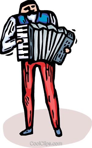 accordion player Royalty Free Vector Clip Art illustration vc065749