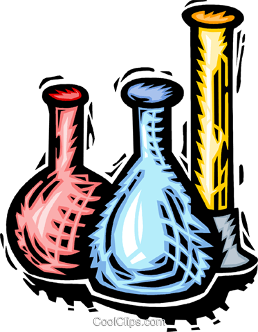 test tubes, beakers and flasks Royalty Free Vector Clip Art illustration vc065754