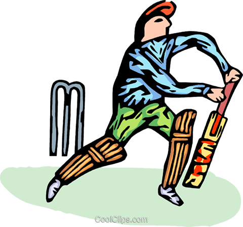 person playing cricket Royalty Free Vector Clip Art illustration vc065768