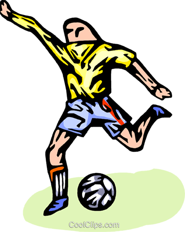 Soccer player kicking ball Royalty Free Vector Clip Art illustration vc065769