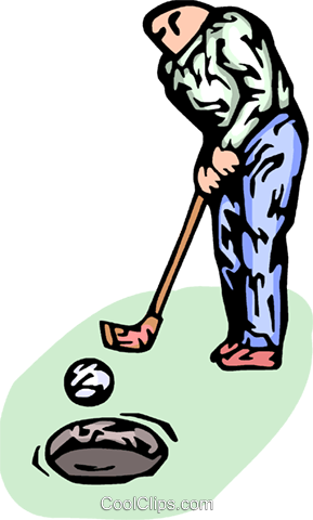 golfer making a putt Royalty Free Vector Clip Art illustration vc065776