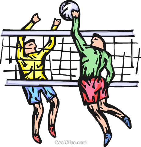 Volleyball players Royalty Free Vector Clip Art illustration vc065781