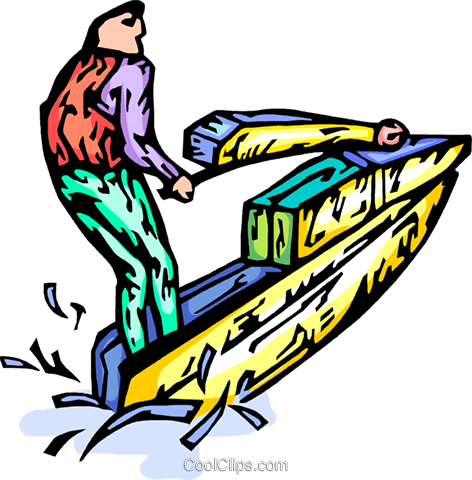 Person on a jet ski Royalty Free Vector Clip Art illustration vc065784