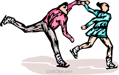 Figure skaters Royalty Free Vector Clip Art illustration vc065787