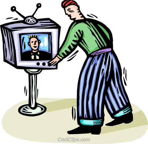 man turning the TV channels Royalty Free Vector Clip Art illustration vc065796