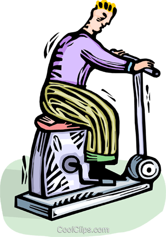 Man on a stationary bicycle Royalty Free Vector Clip Art illustration vc065797